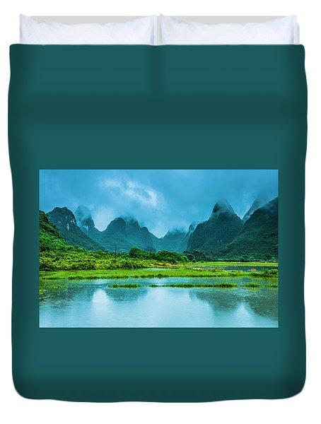 Karst Rural Scenery In Raining Duvet Cover
