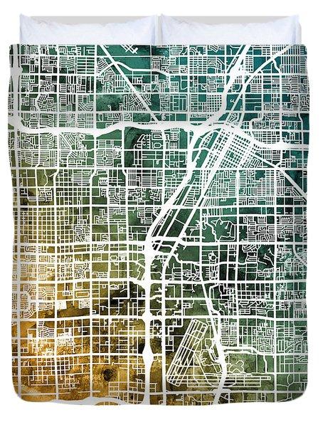 Las Vegas City Street Map Duvet Cover