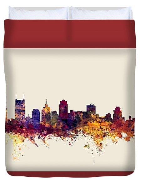 Nashville Tennessee Skyline Duvet Cover