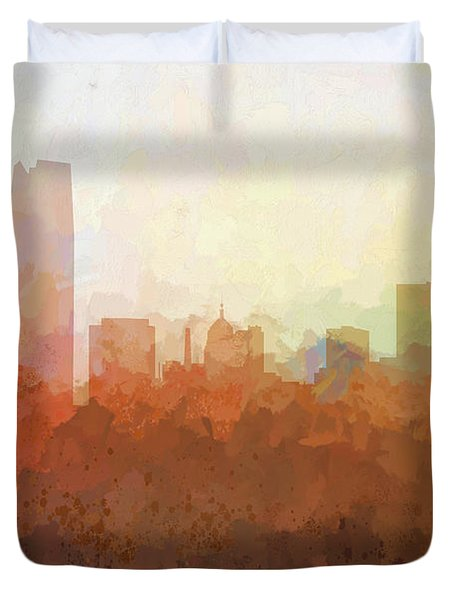 Duvet Cover featuring the digital art Oklahoma City Oklahoma Skyline by Marlene Watson