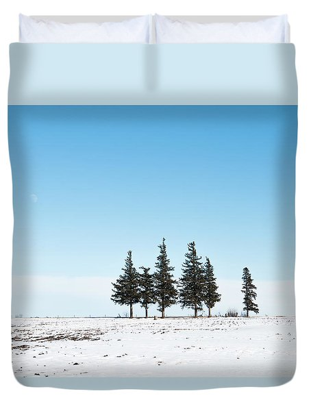 6 Pines And The Moon Duvet Cover
