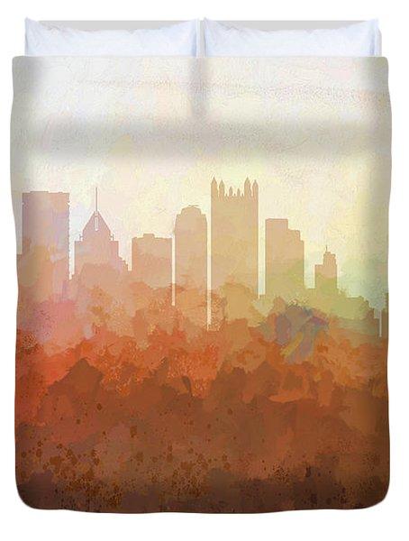 Duvet Cover featuring the digital art Pittsburgh Pennsylvania Skyline by Marlene Watson