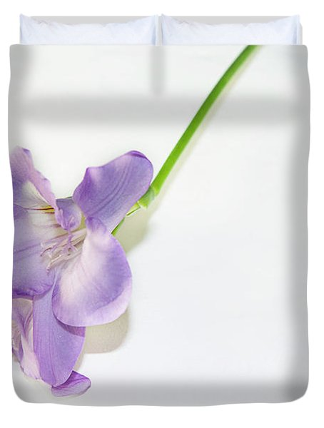 Purple Freesia Duvet Cover by Elvira Ladocki