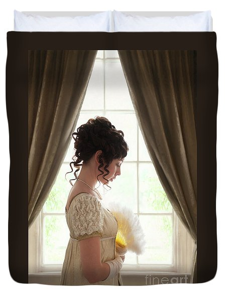 Regency Woman At The Window Duvet Cover