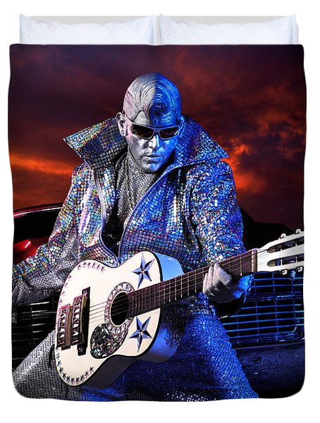Silver Elvis Duvet Cover by Oleksiy Maksymenko