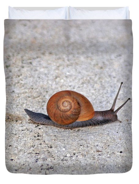 Duvet Cover featuring the photograph 6- Snail by Joseph Keane