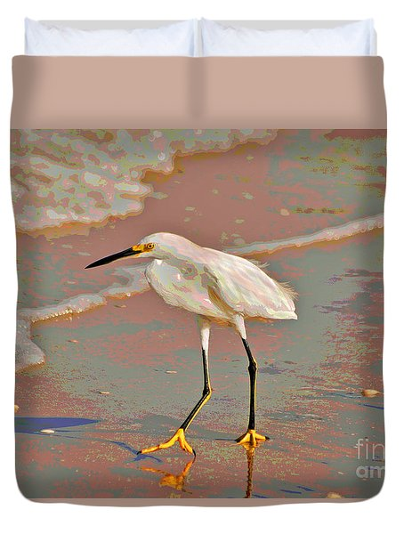 Duvet Cover featuring the photograph 6- Snowy Egret by Joseph Keane