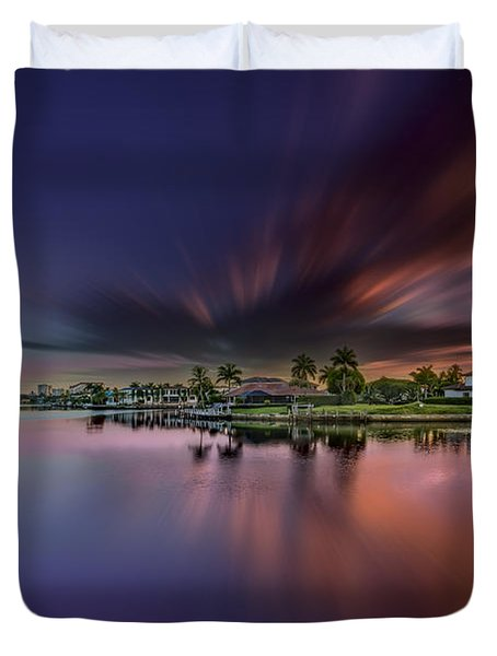 Sunrise At Naples, Florida Duvet Cover by Peter Lakomy