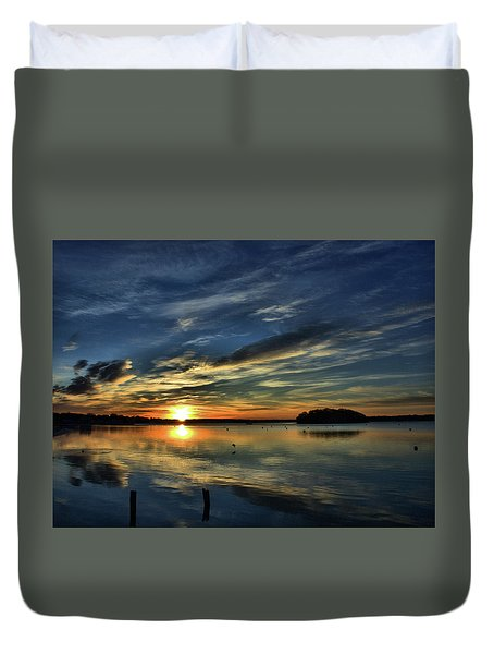 Sunrise Onset Pier Duvet Cover
