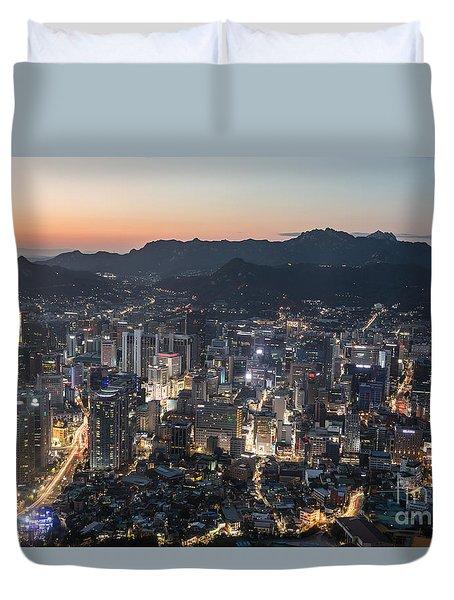 Sunset Over Seoul Duvet Cover