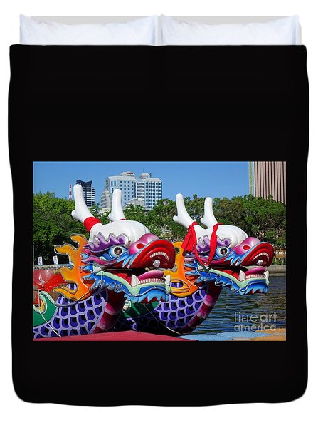 Traditional Dragon Boats In Taiwan Duvet Cover