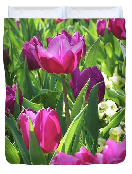 Tulips In The Park. Duvet Cover