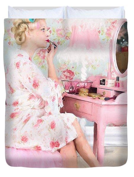 Vintage Valentine Date Duvet Cover