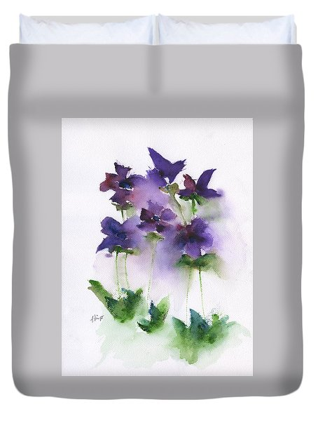 6 Violets Abstract Duvet Cover