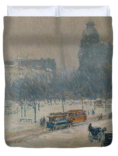 Winter In Union Square Duvet Cover