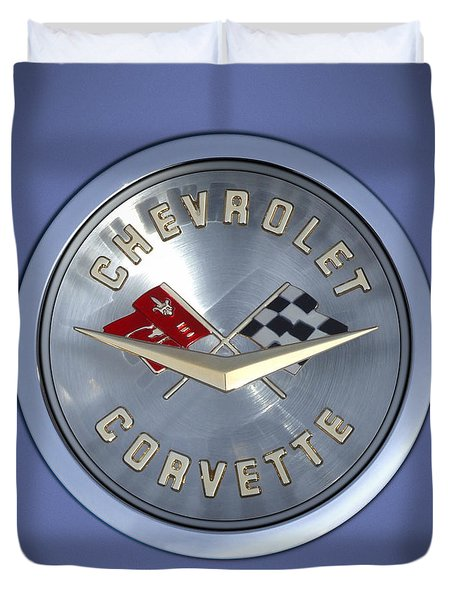 60 Chevy Corvette Emblem  Duvet Cover by Mike McGlothlen