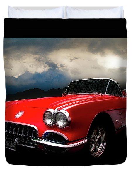 60 Corvette Roadster In Red Duvet Cover