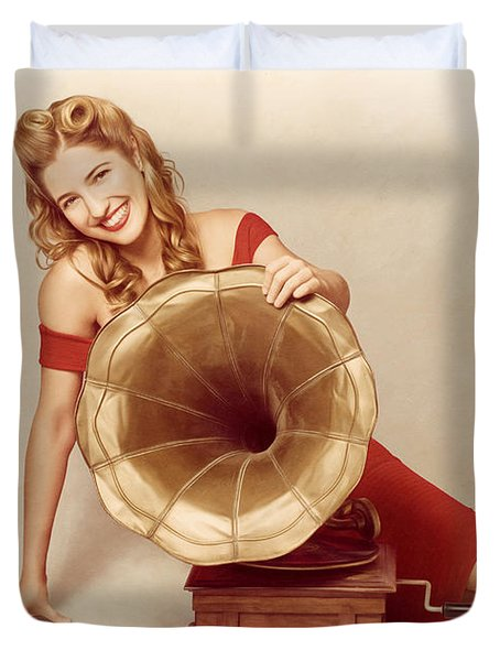 60s Pin Up Girl With Vintage Record Phonograph Duvet Cover by Jorgo Photography - Wall Art Gallery