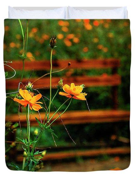 Galsang Flowers In Garden Duvet Cover