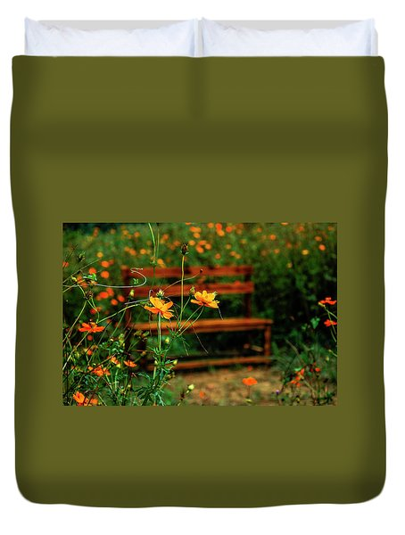 Duvet Cover featuring the photograph Galsang Flowers In Garden by Carl Ning