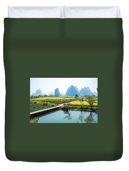Rice Fields Scenery In Autumn Duvet Cover
