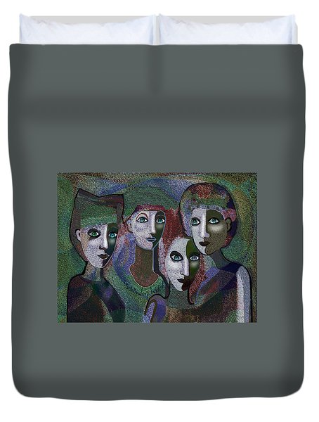 Duvet Cover featuring the digital art 649 - Gauntly Ladies by Irmgard Schoendorf Welch