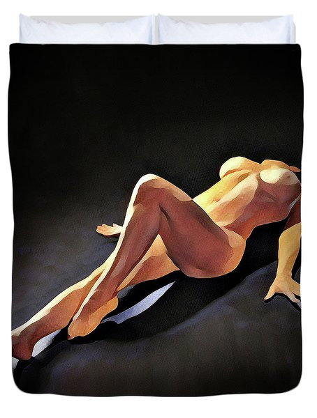 6550s-amg Watercolor Nude Woman Leg Up  Duvet Cover