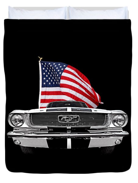 66 Mustang With U.s. Flag On Black Duvet Cover