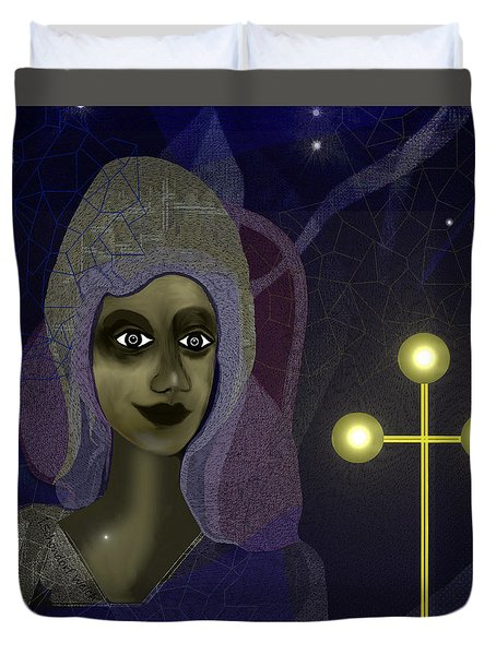 Duvet Cover featuring the digital art 673 - Young Lady With Cross by Irmgard Schoendorf Welch