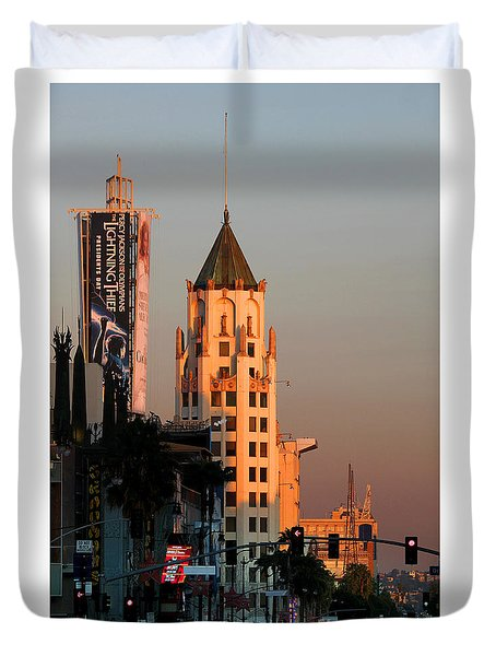 6777 Hollywood Blvd High-rise Building Duvet Cover by Wernher Krutein