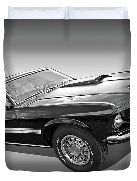 69 Mach1 In Black And White Duvet Cover