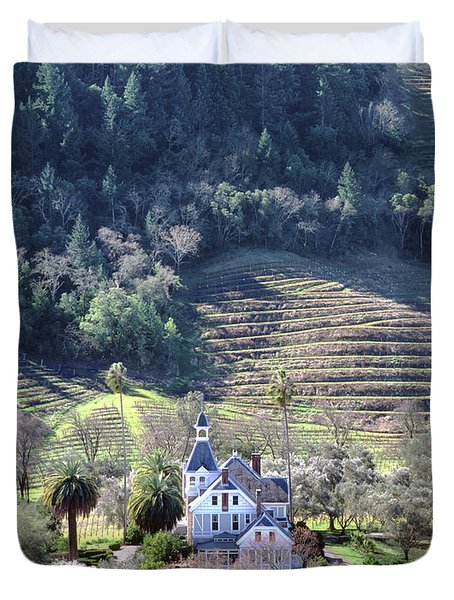 6b6312 Falcon Crest Winery Grounds Duvet Cover