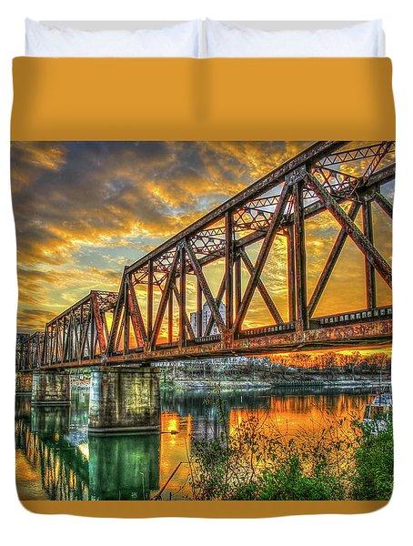 6th Street Sunset Drawbridge Trestle Style Rr Augusta Georgia Duvet Cover