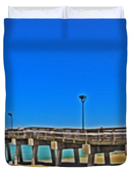 6x1 Venice Florida Beach Pier Duvet Cover