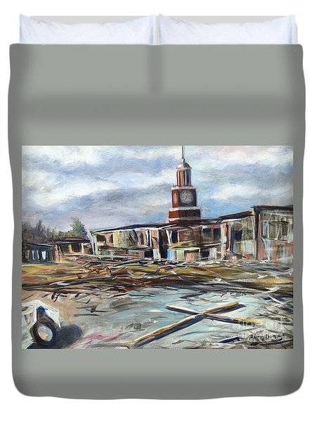 Duvet Cover featuring the painting Union University Jackson Tennessee 7 02 P M by Randol Burns