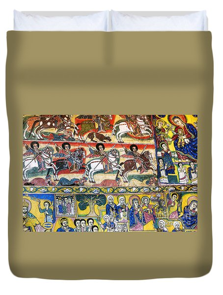 Ancient Orthodox Church Interior Painted Walls In Gondar Ethiopi Duvet Cover