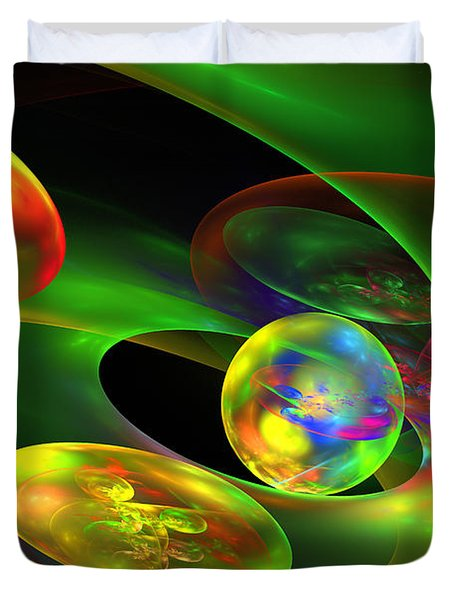 Computer Generated Planet Sphere Abstract Fractal Flame Modern Art Duvet Cover by Keith Webber Jr
