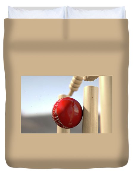Cricket Ball Hitting Wickets Duvet Cover