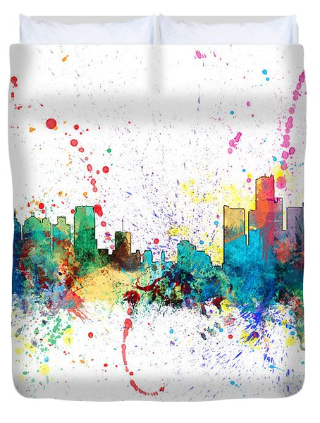 Detroit Michigan Skyline Duvet Cover