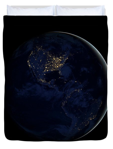 Full Earth At Night Showing City Lights Duvet Cover by Stocktrek Images