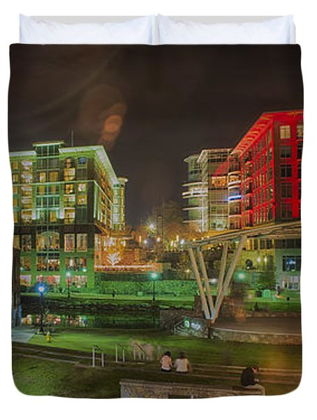 Greenville South Carolina Near Falls Park River Walk At Nigth. Duvet Cover