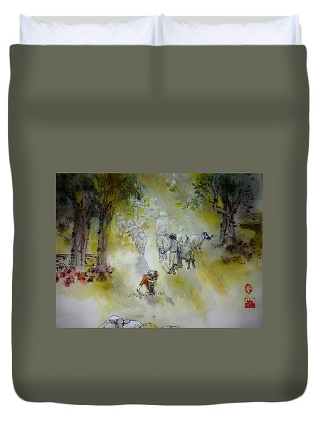 Italy Love Life And Linguini Album Duvet Cover