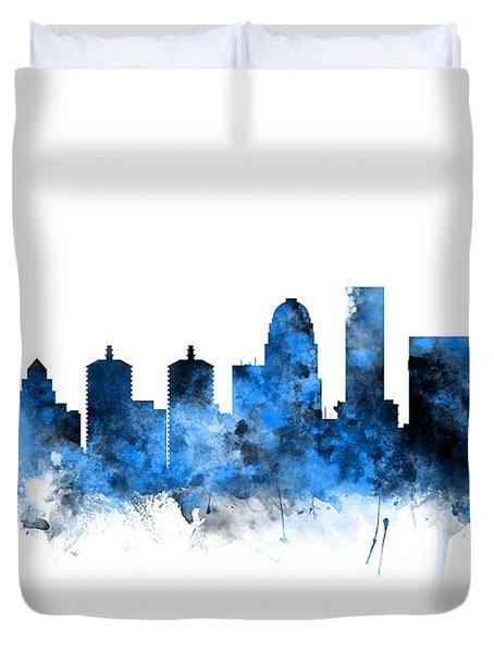 Louisville Kentucky City Skyline Duvet Cover
