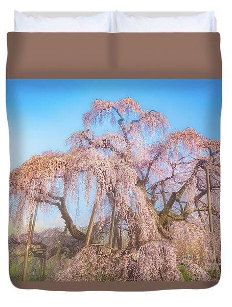 Duvet Cover featuring the photograph Miharu Takizakura Weeping Cherry29 by Tatsuya Atarashi