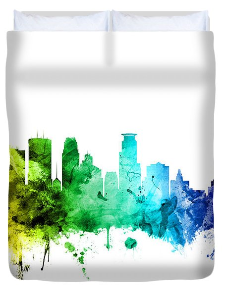 Minneapolis Minnesota Skyline Duvet Cover