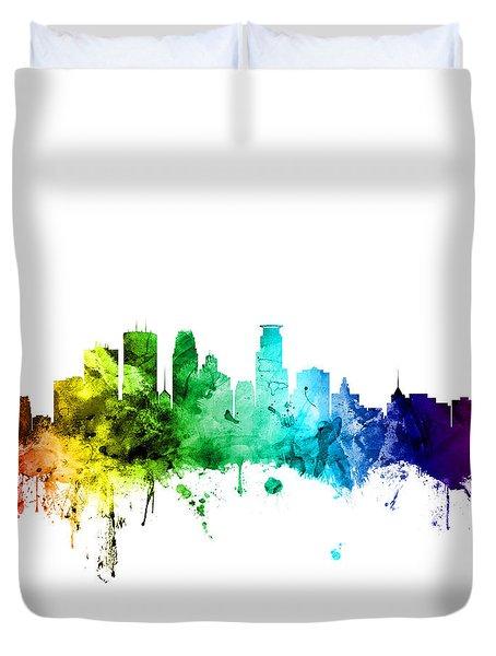 Minneapolis Minnesota Skyline Duvet Cover