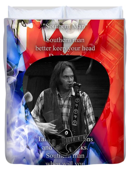 Neil Young Art Duvet Cover by Marvin Blaine