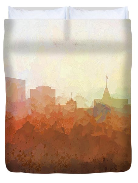 Duvet Cover featuring the digital art Oakland California Skyline by Marlene Watson