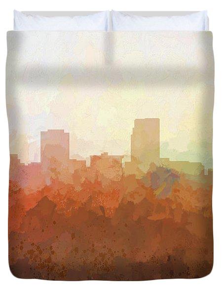 Duvet Cover featuring the digital art Omaha Nebraska Skyline by Marlene Watson