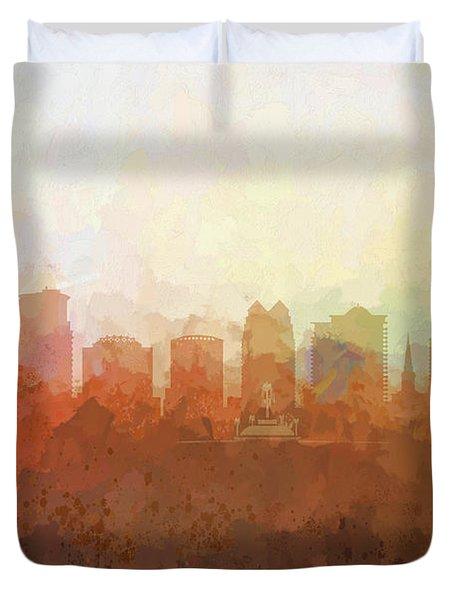 Duvet Cover featuring the digital art Orlando Florida Skyline by Marlene Watson